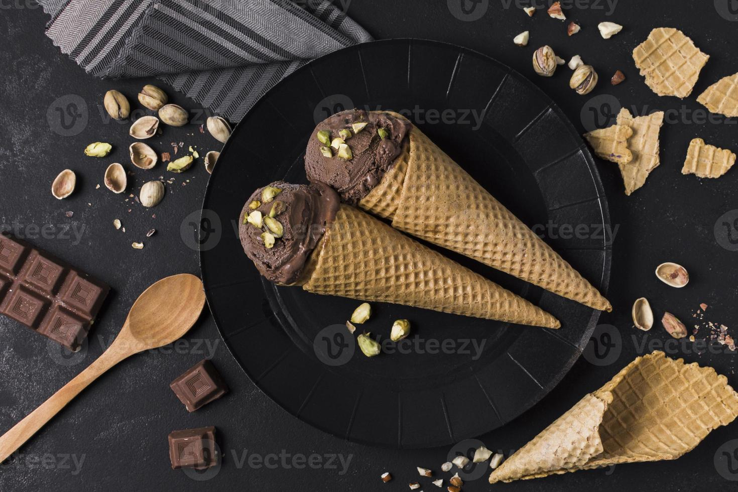 Top view set ice cream cones with chocolate. High quality beautiful photo concept