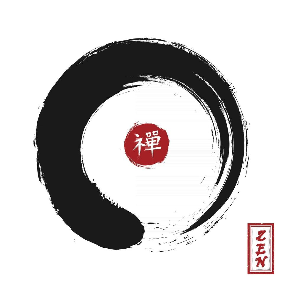 Enso zen circle style . Sumi e design . Black color . Red circular stamp and kanji calligraphy  Chinese . Japanese  alphabet translation meaning zen . White isolated background . Vector illustration .