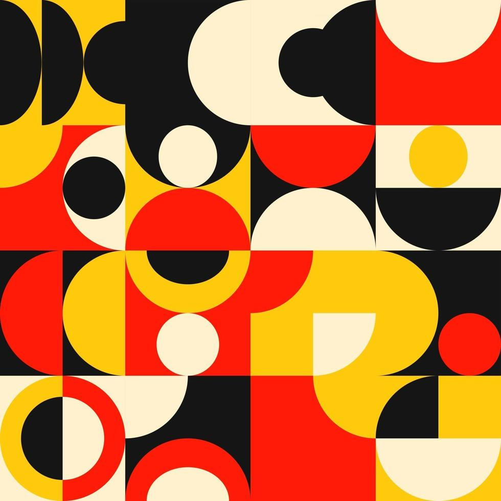 Mid century geometric abstract pattern with simple shapes and beautiful color palette. Simple geometric pattern composition, best use in web design, business card, invitation, poster, textile print. vector