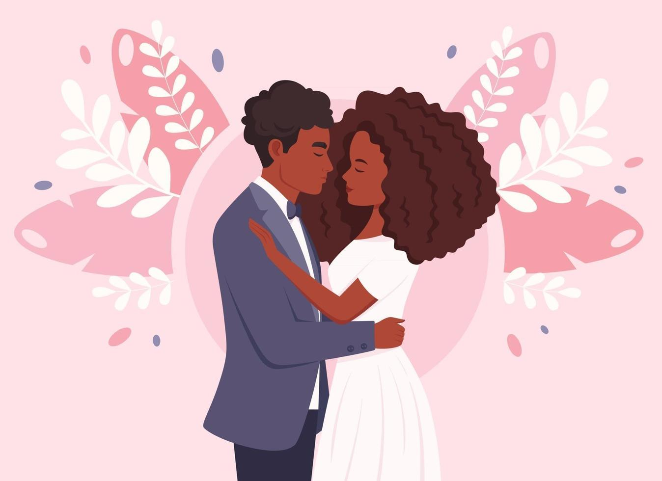 Wedding couple. African american married couple. Wedding portrait vector