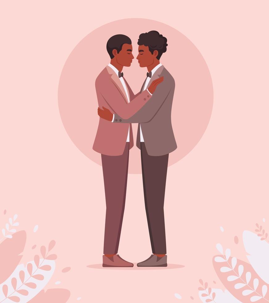 African american gay couple. LGBT wedding, pride concept. vector