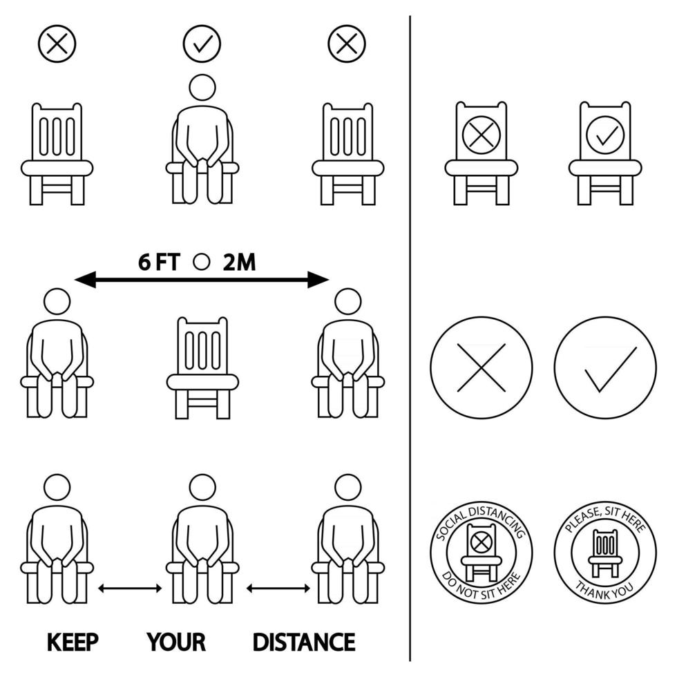 Keep your distance. Do not sit here. Forbidden icon for seat. 6 Feet or 2 meter social distancing for chair seat. Lockdown rule. Keep your distance when you are sitting. Man on the chair vector