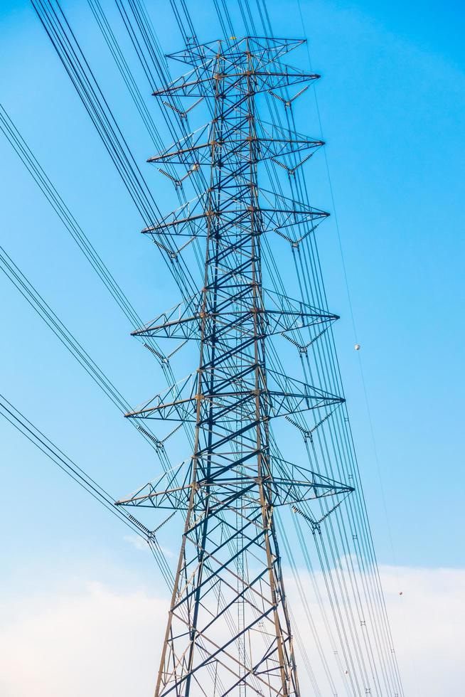 Electricity post with high voltage photo