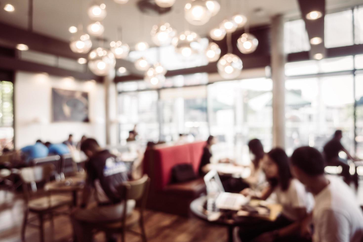 Abstract blur and defocused coffee shop interior photo