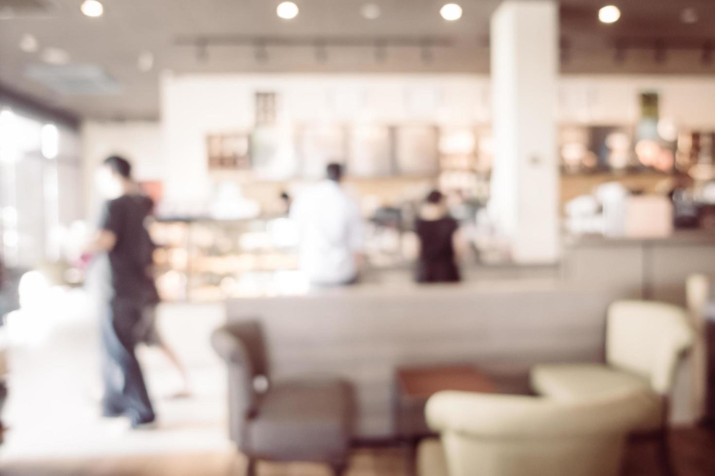 Interior de cafetería y restaurante borroso abstracto foto