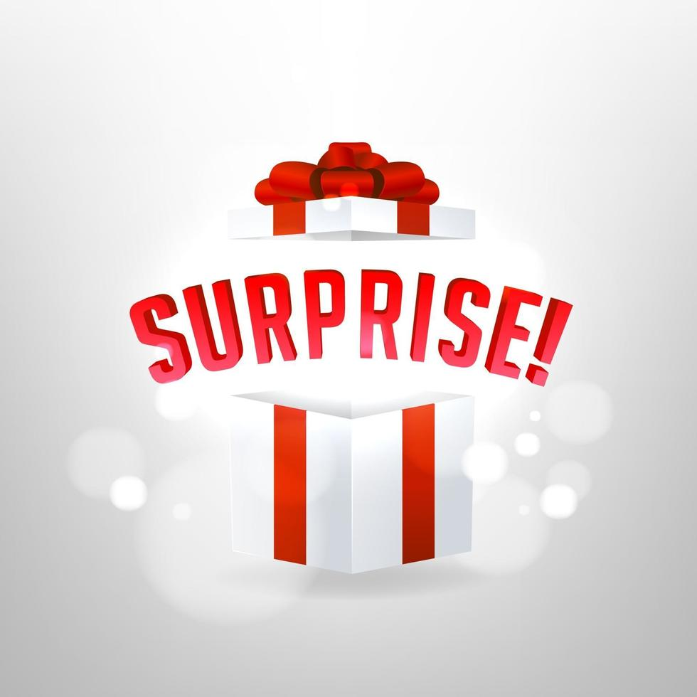 Surprise inside open gift box design template. Birthday surprise and Christmas present concept. vector