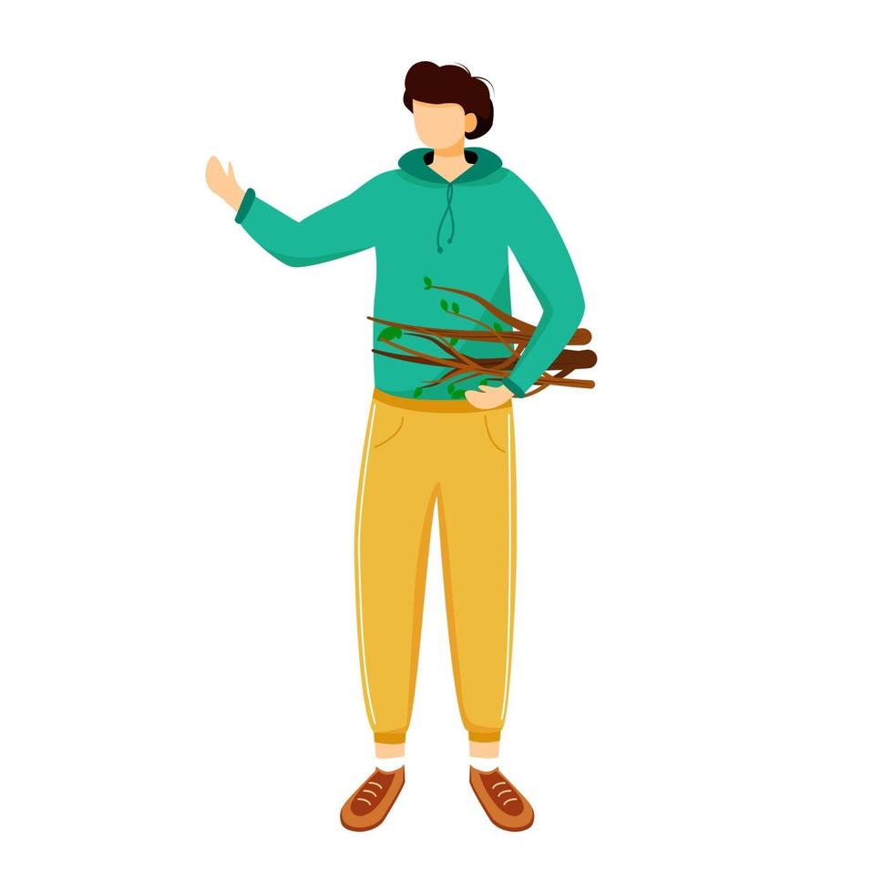 Boy collects firewood flat vector illustration. Camping activity, creating fire. Cheap travel choice. Active vacation. Budget tourism. Staying in forest isolated cartoon character on white background