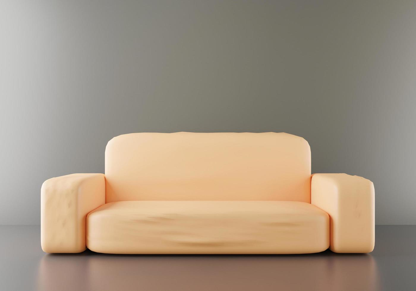 One isolated couch sofa bed in room premium color background, Sofa orange color front composition, 3d Rendering illustration for web page presentation photo