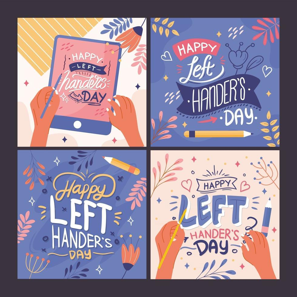 Happy Left Handers Day Card Collection vector
