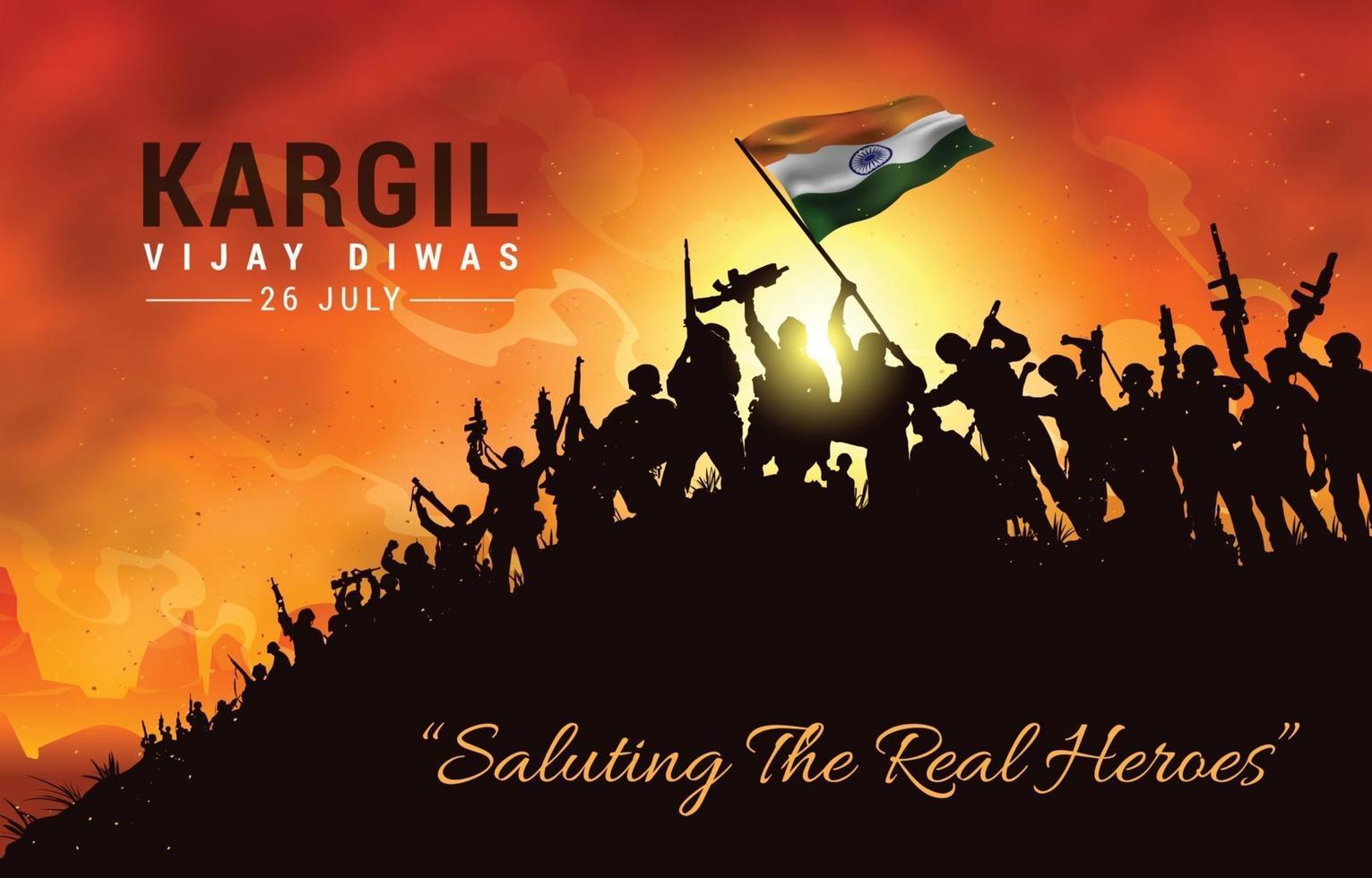 Saluting the Real Heroes of Kargil Vijay Diwas vector
