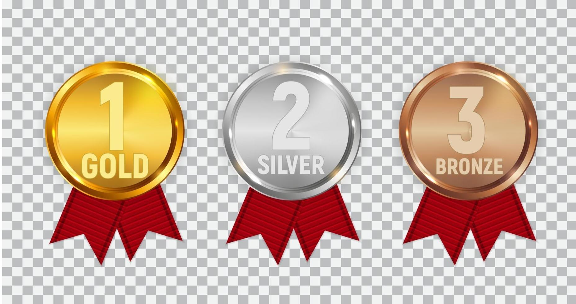 Champion Gold, Silver and Bronze Medal Set vector