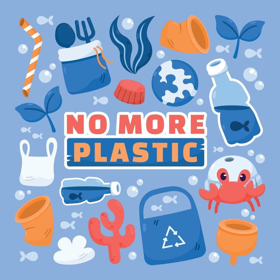 No More Plastic Stickers vector