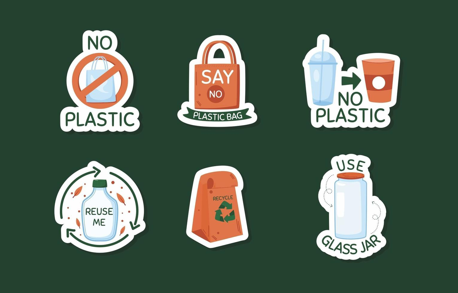 No Plastic Doodle Sticker Collection vector