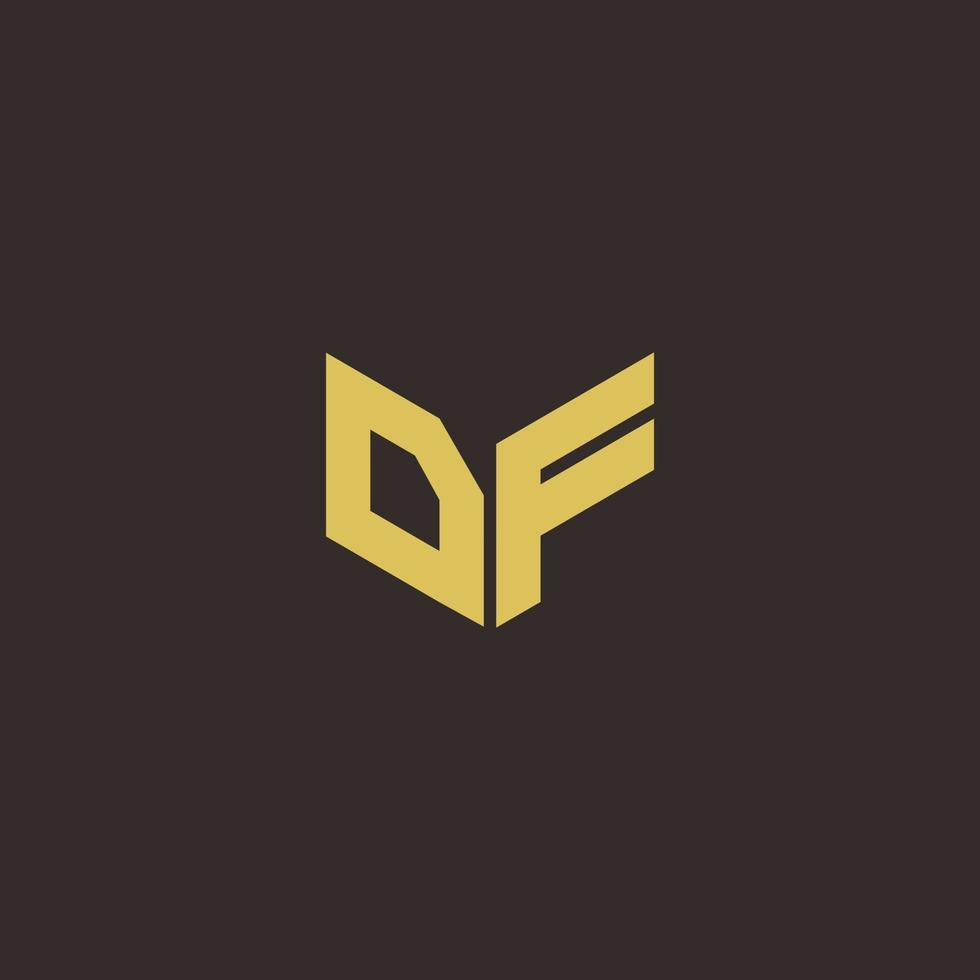 DF Logo Letter Initial Logo Designs Template with Gold and Black Background vector