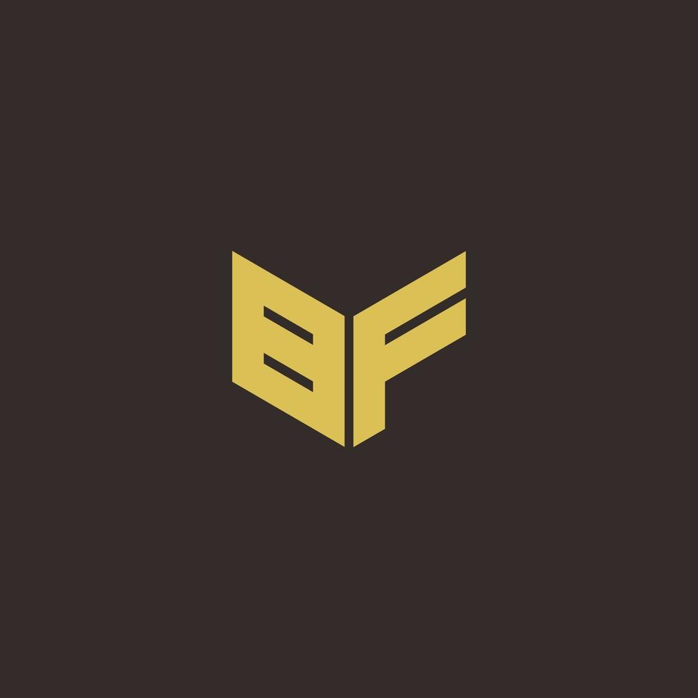 BF Logo Letter Initial Logo Designs Template with Gold and Black Background vector