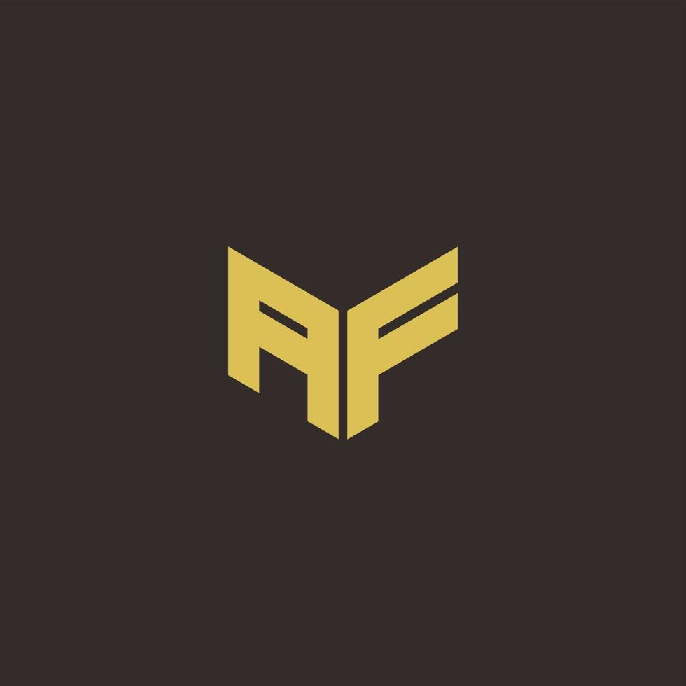 AF Logo Letter Initial Logo Designs Template with Gold and Black Background vector