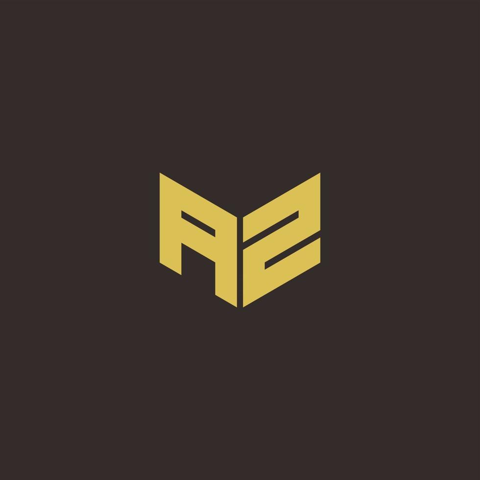 AZ Logo Letter Initial Logo Designs Template with Gold and Black Background vector