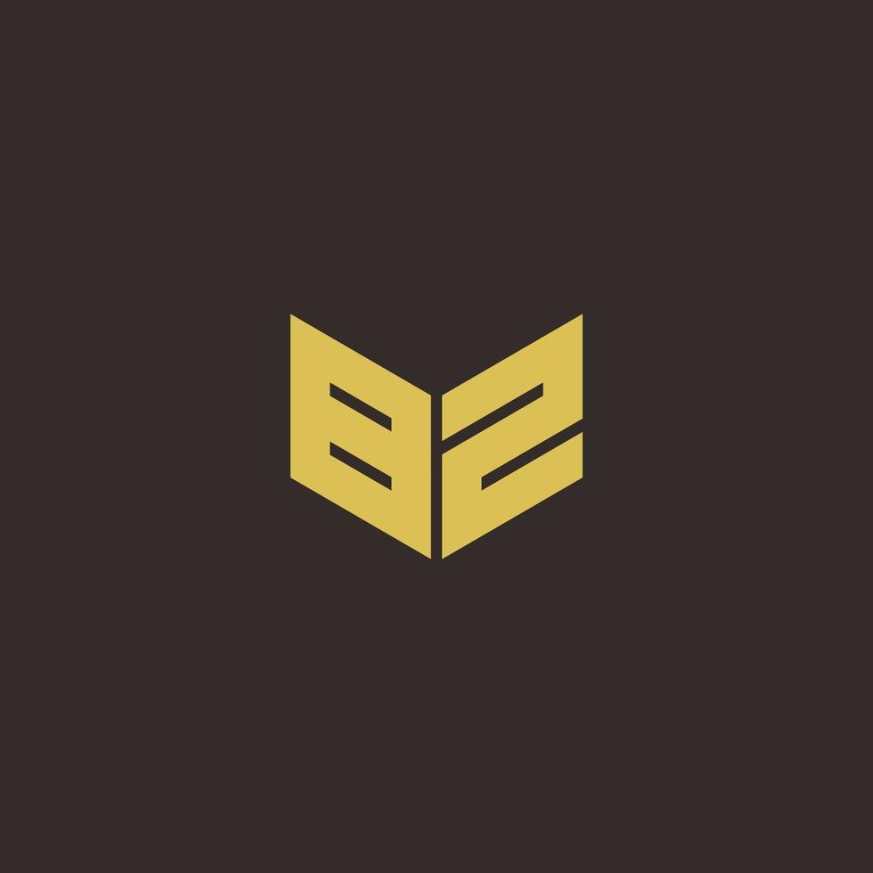 BZ Logo Letter Initial Logo Designs Template with Gold and Black Background vector