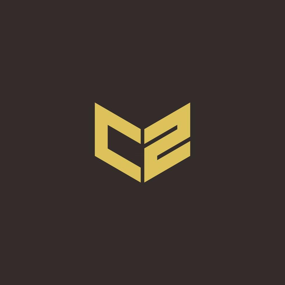 CZ Logo Letter Initial Logo Designs Template with Gold and Black Background vector
