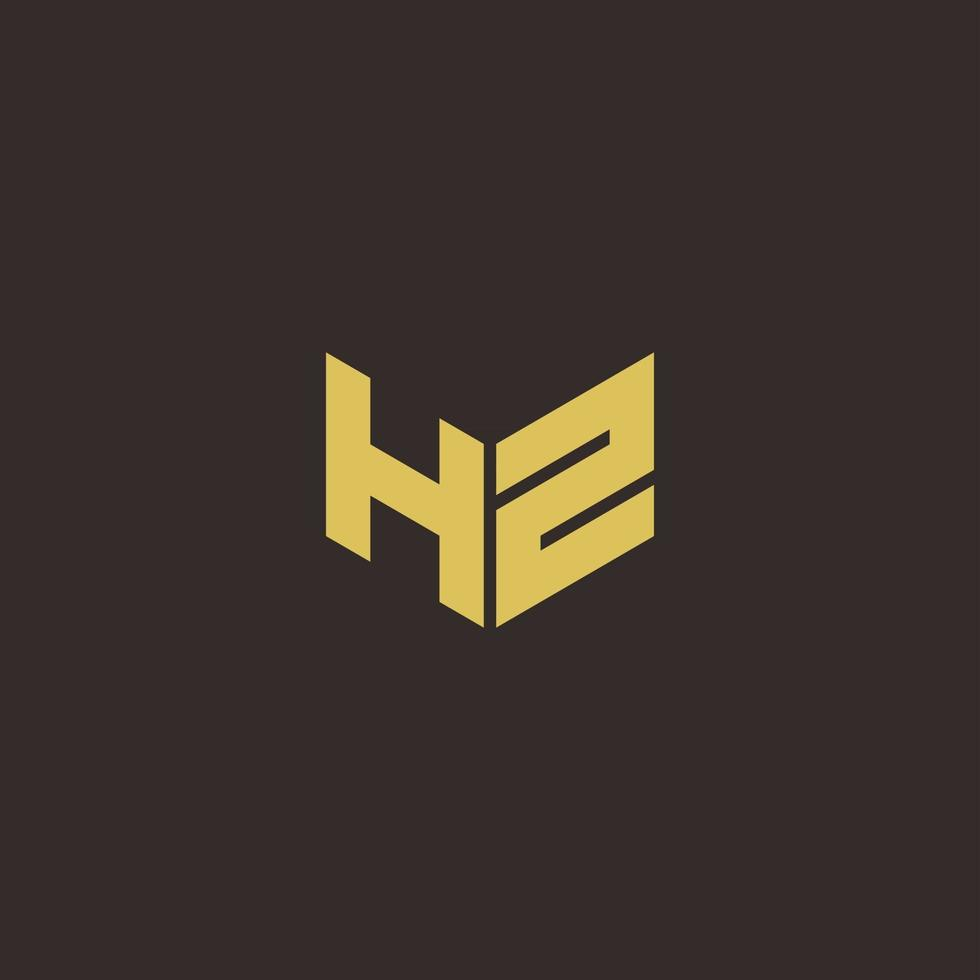 HZ Logo Letter Initial Logo Designs Template with Gold and Black Background vector