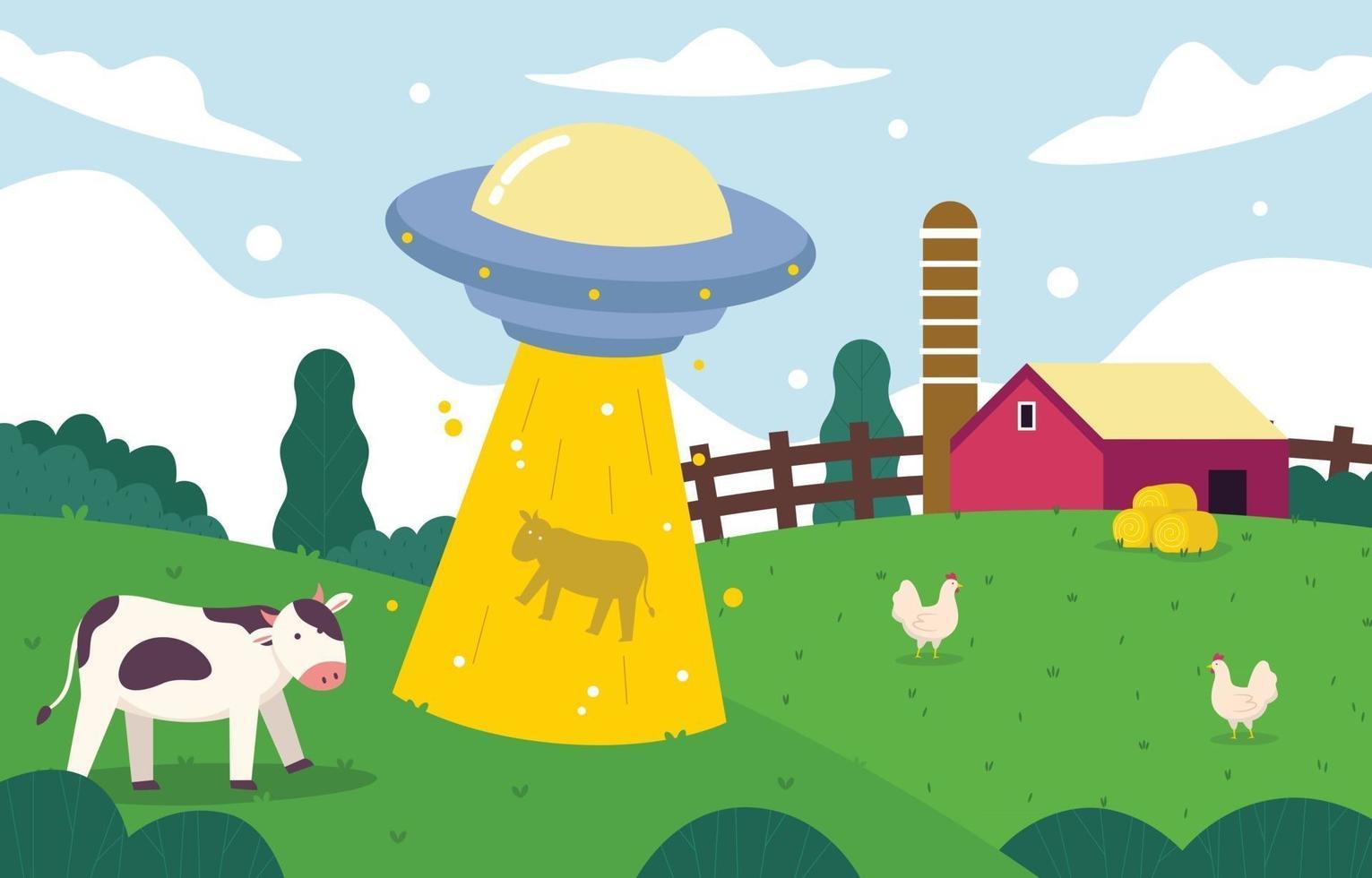 Flat UFO Abduction in Farm Concept vector