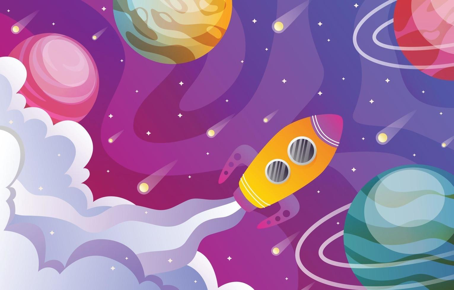 Spaceship in Outer Space vector