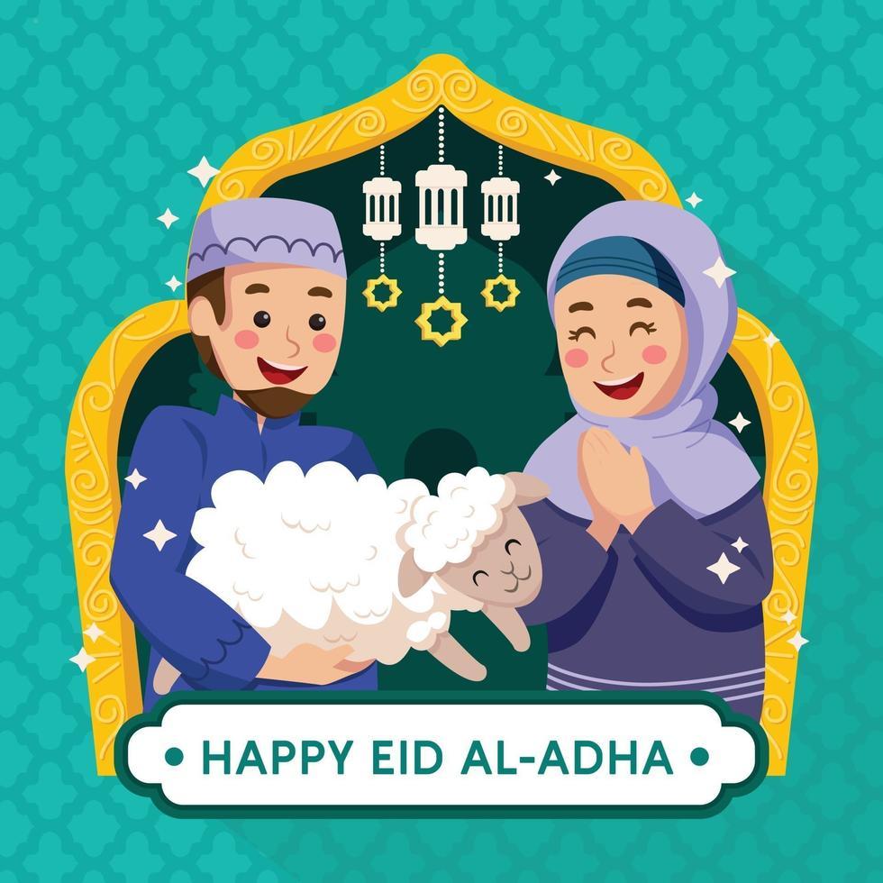 Happy Wife and Husband Celebrating Eid al-Adha vector