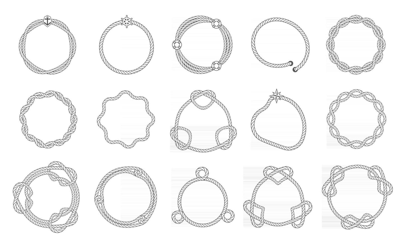 Round rope frames, wavy and smooth outline with sea knots. Woven lines of frames. Borders for selection template, vector illustration.