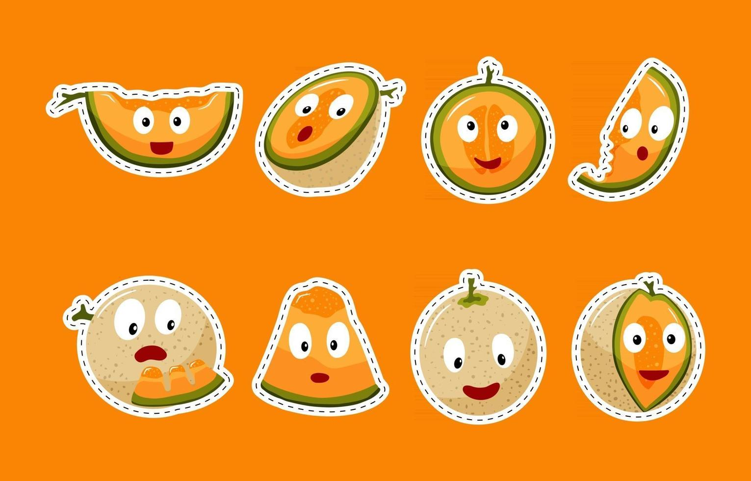 Sticker Pack Melon with Expression vector