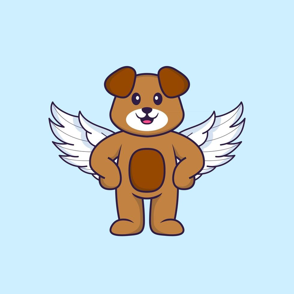 Cute dog using wings. Animal cartoon concept isolated. Can used for t-shirt, greeting card, invitation card or mascot. Flat Cartoon Style vector