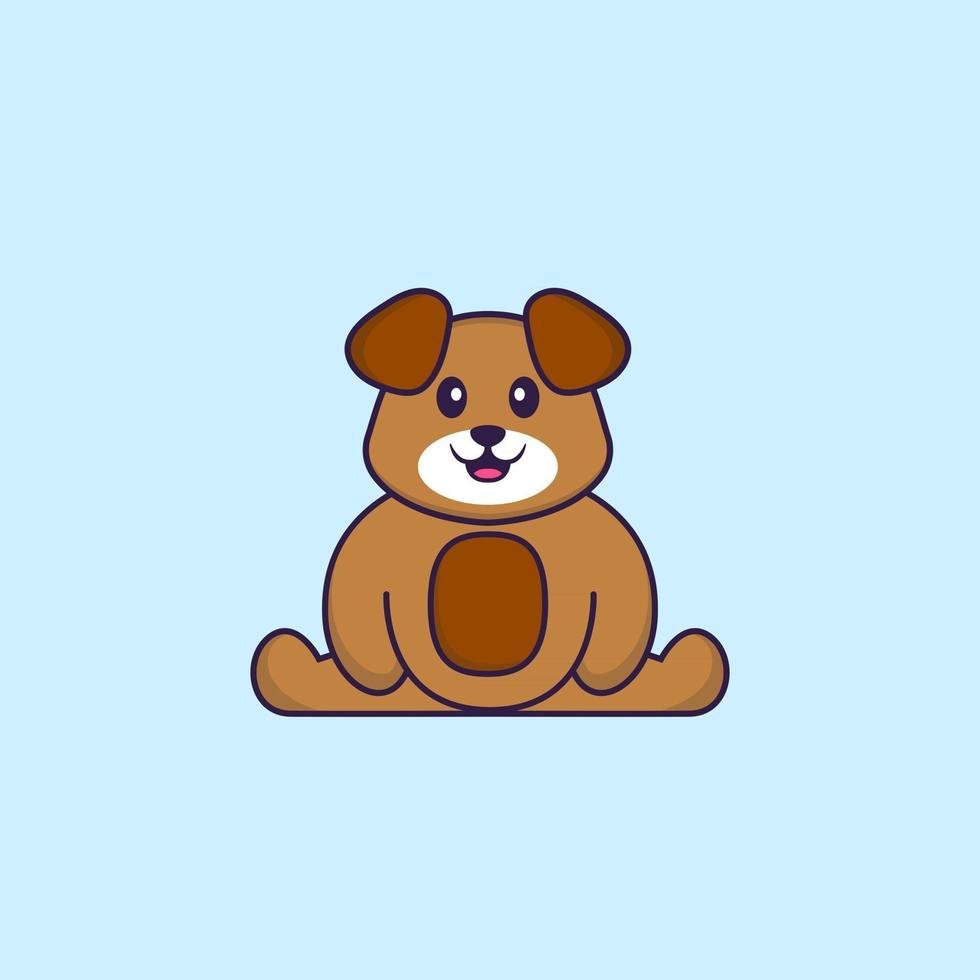 Cute dog is sitting. Animal cartoon concept isolated. Can used for t-shirt, greeting card, invitation card or mascot. Flat Cartoon Style vector