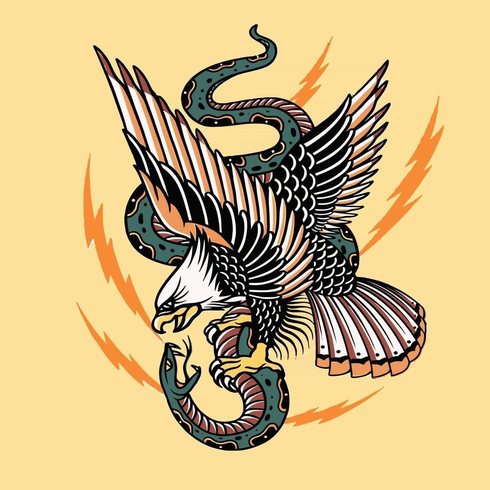 artwork eagle and snake fighter vector design