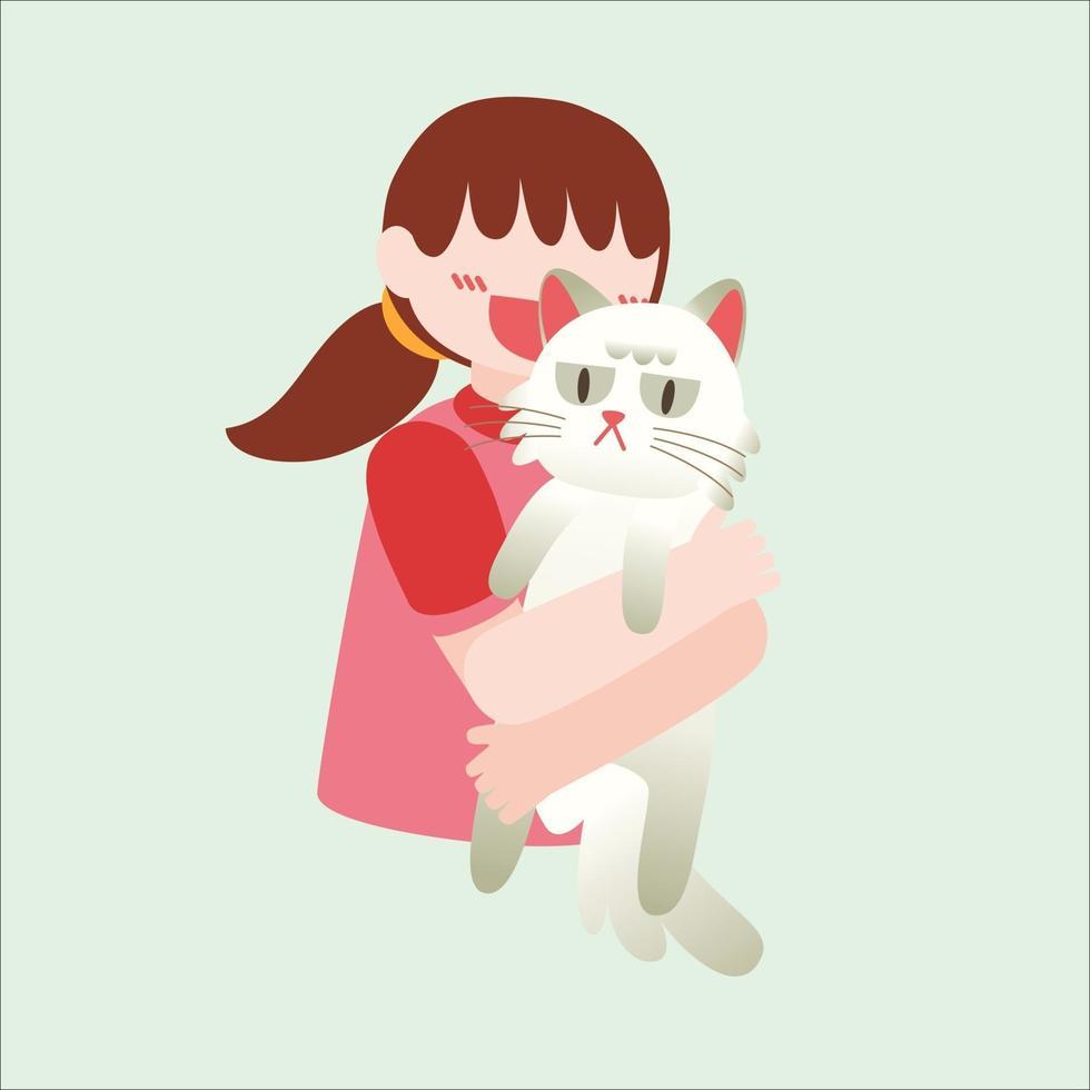lovelly girl her cat pet owner vector