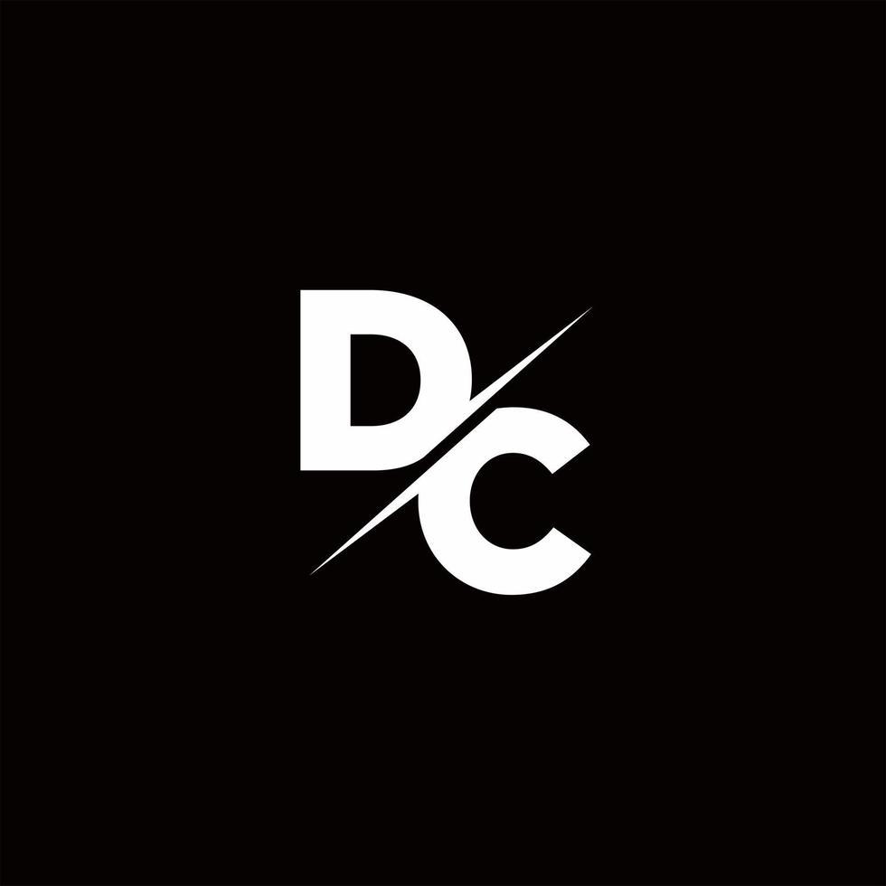 DC Logo Letter Monogram Slash with Modern logo designs template vector