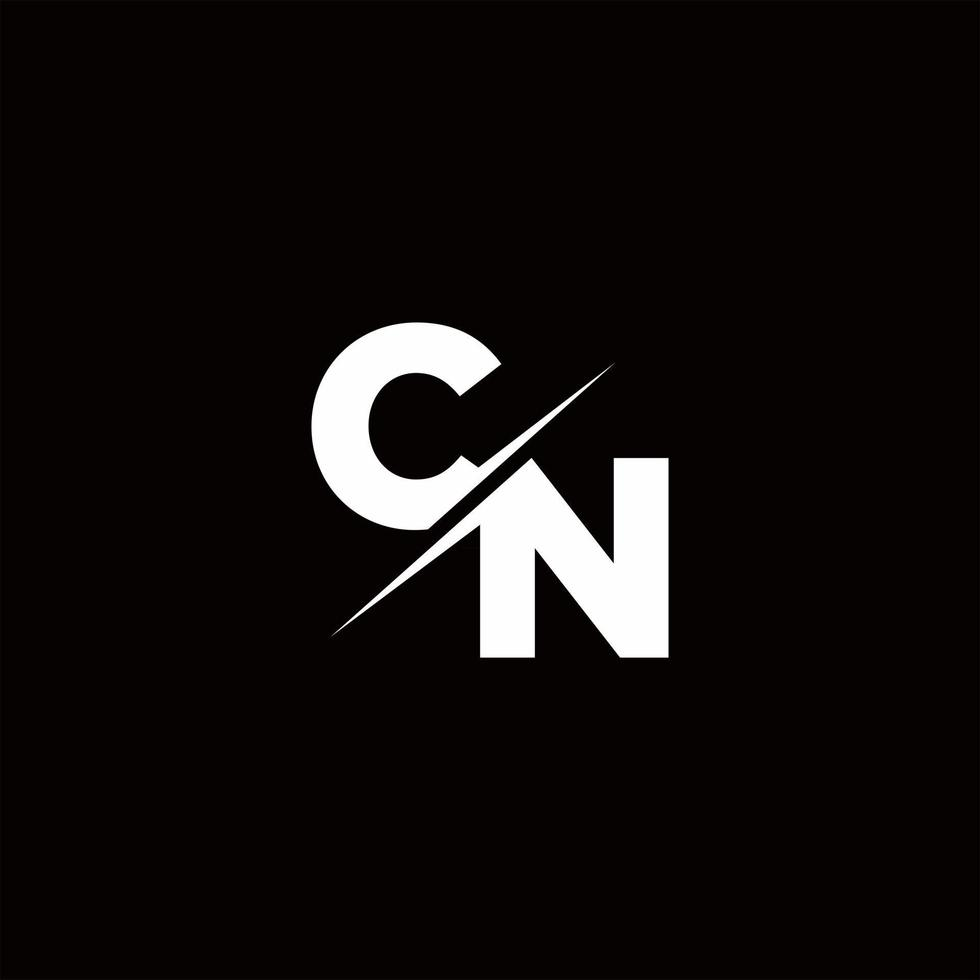 CN Logo Letter Monogram Slash with Modern logo designs template vector