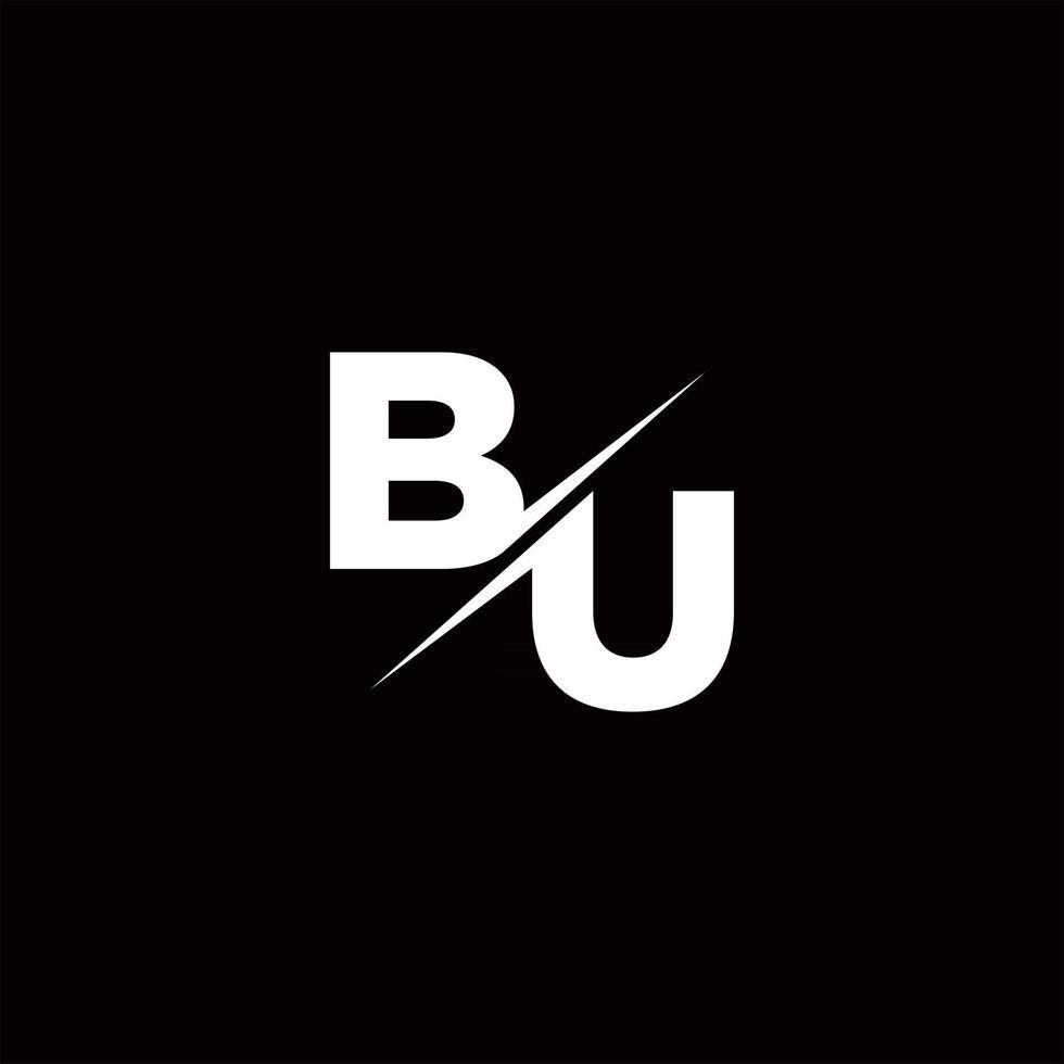 BU Logo Letter Monogram Slash with Modern logo designs template vector