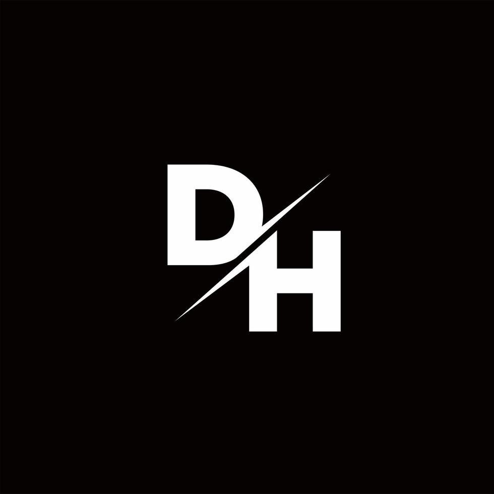 DH Logo Letter Monogram Slash with Modern logo designs template vector
