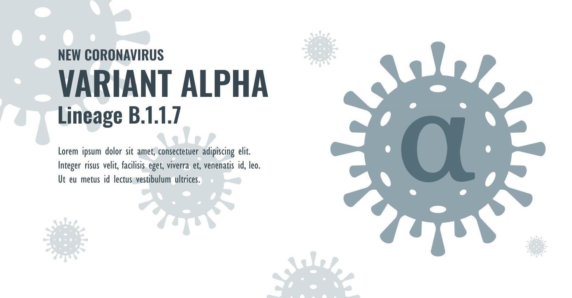 New Coronavirus or SARS-CoV-2 Variant Alpha B.1.1.7 Illustration vector