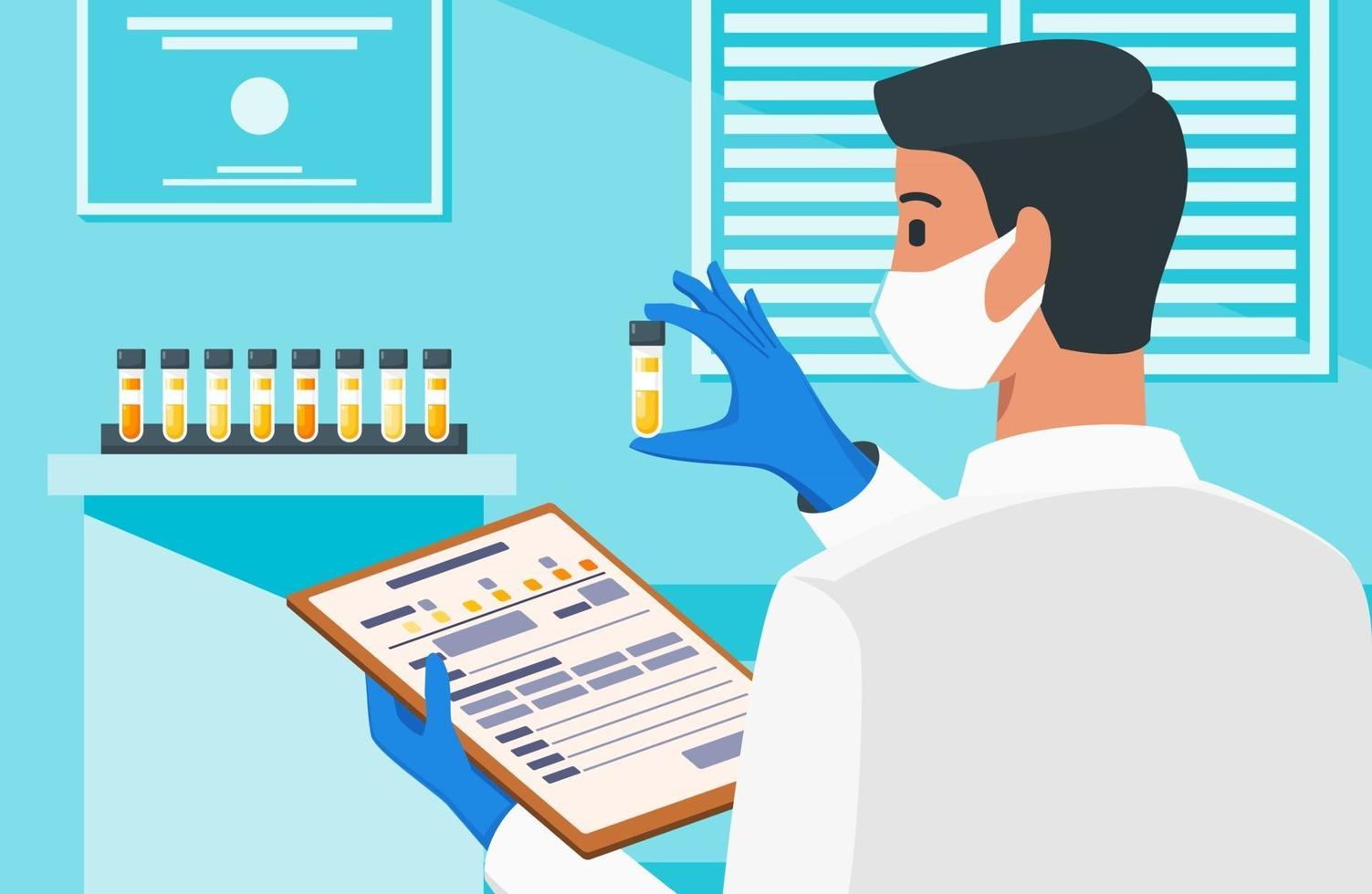 Healthcare Professional Checking Out Labeled Urine vector