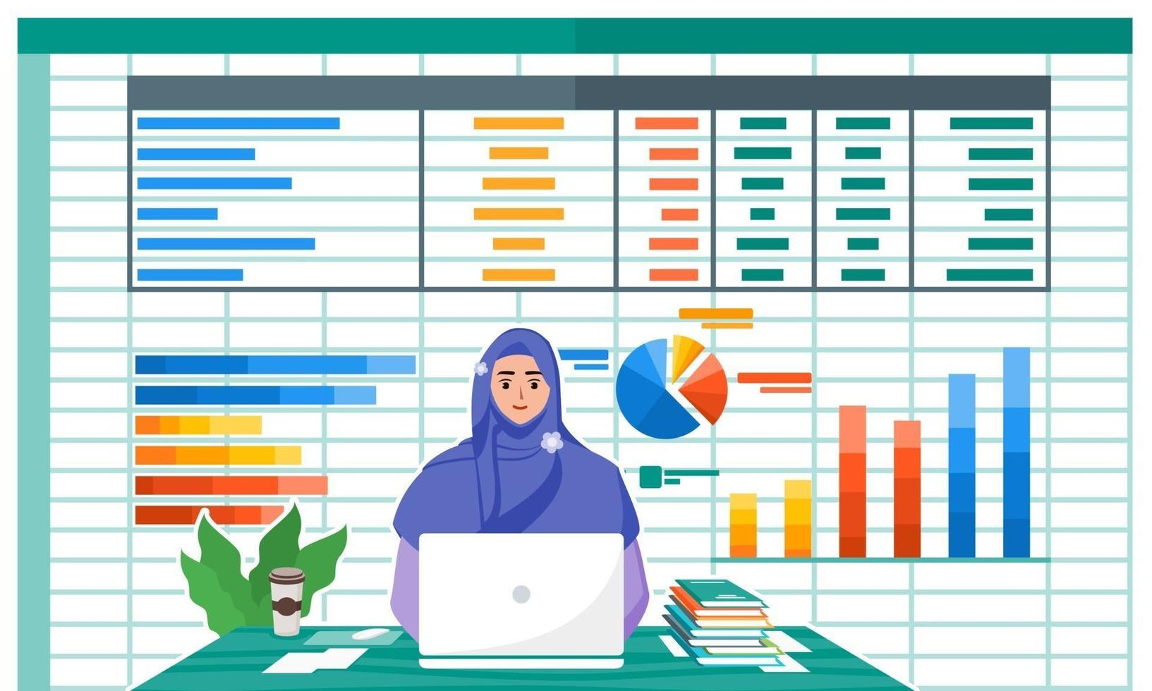 Female Accountant Working With Laptop vector