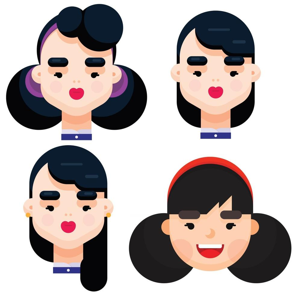 Set of four different beautiful young girl with different hair style. Flat design vector illustration.