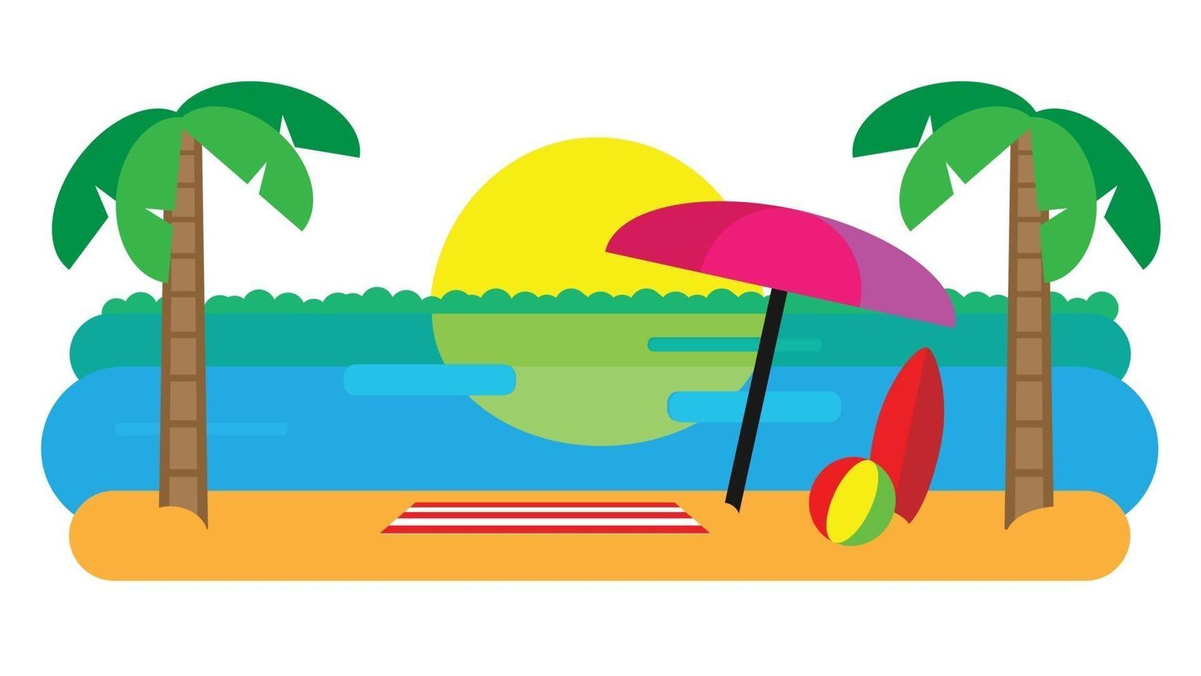 Beach Landscape with Beach Umbrella, Mat, Surfboard and a Ball. Sunset beach landscape. Flat Design Vector illustration.