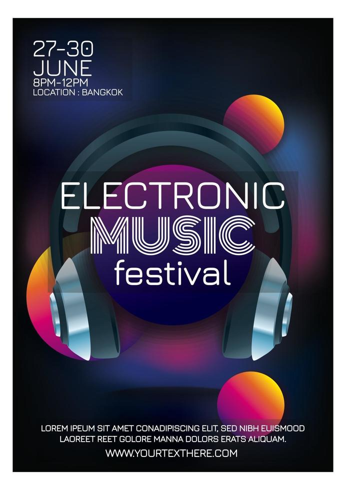 music party festival poster for party vector