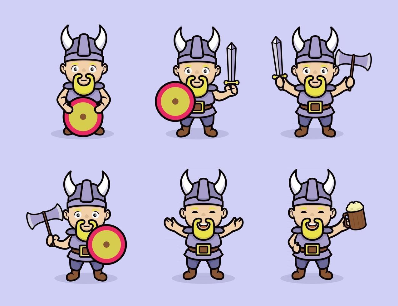 Cute viking illustration vector
