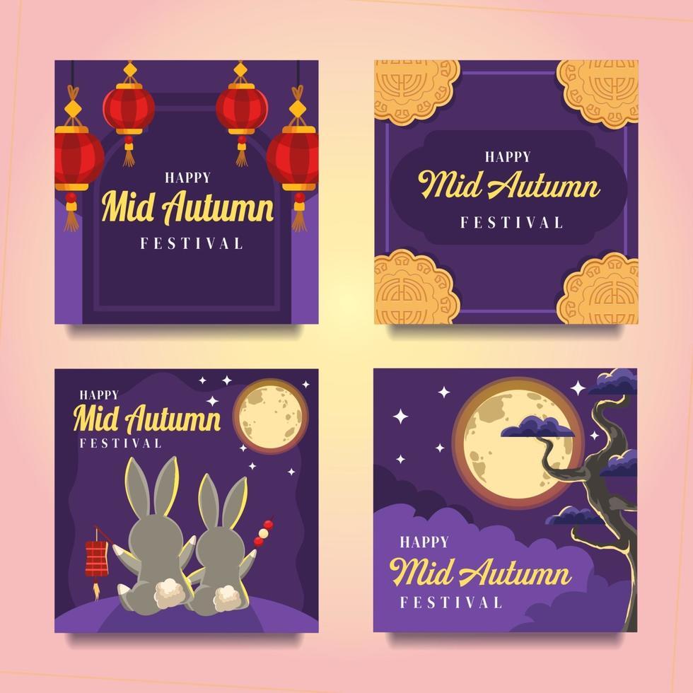 Moonlight Mid Autumn Card vector