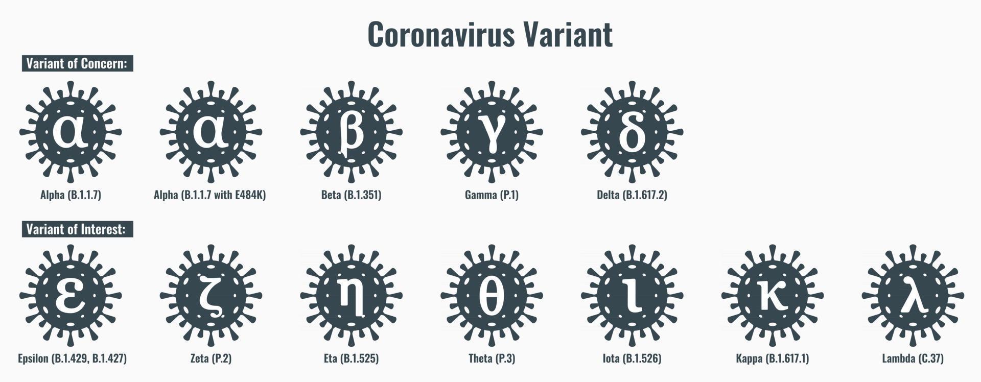 Set of Coronavirus or SARS-CoV-2 Variant Illustration vector