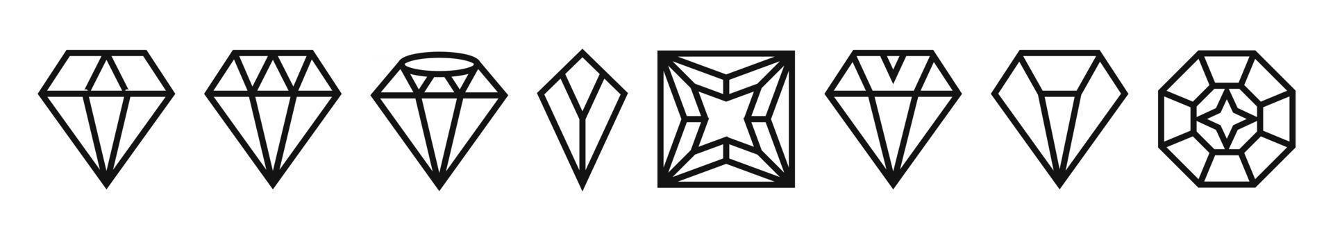 Set of a diamond line art icon for apps or website vector