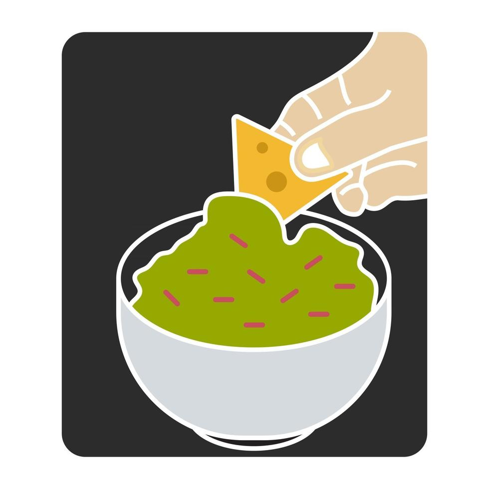 flat color illustration the corn tortilla chips dipped mexican guacamole sauce for apps or websites vector