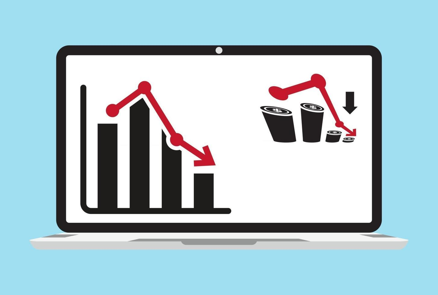 Flat icon a recession or stock market crash with graph chart isolated on the laptop vector