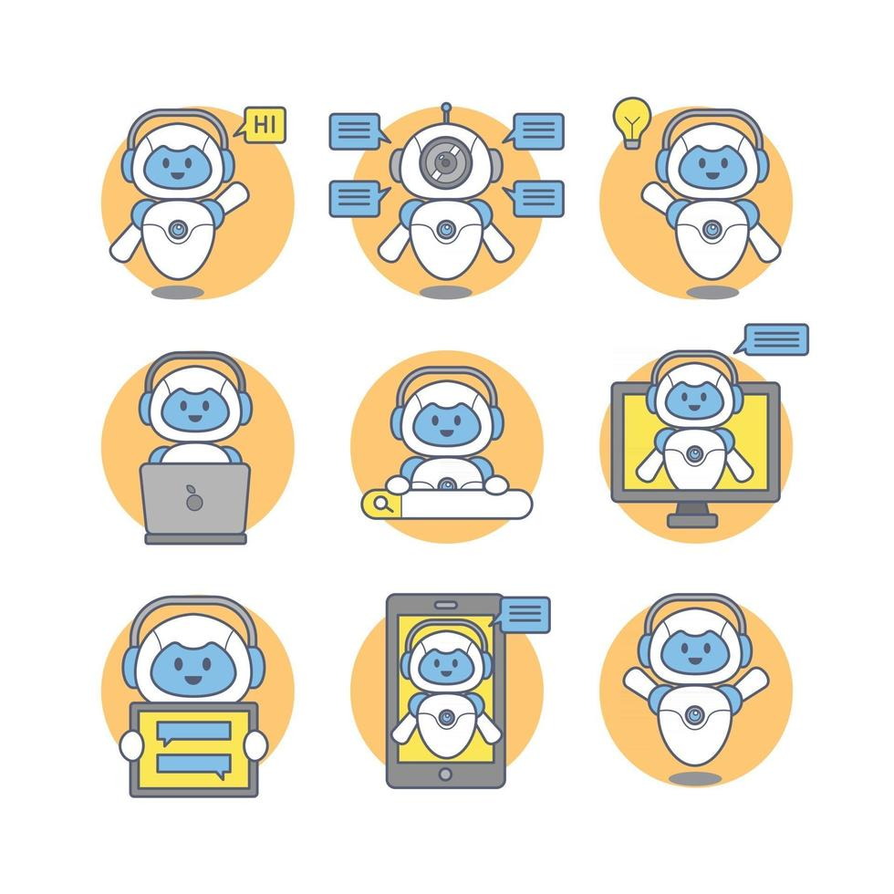 Chatbot Stickers Concept vector